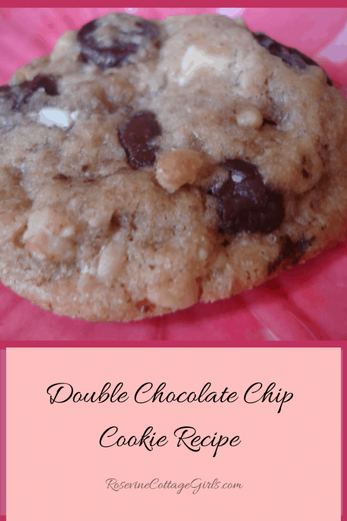 double chocolate chip cookie, white and dark chocolate cookie, chewy chocolate chip cookie