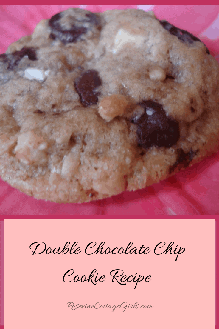 photo of a double chocolate chip cookie on a pink plate | rosevinecottagegirls.com | double chocolate chip cookie, white and dark chocolate cookie, chewy chocolate chip cookie