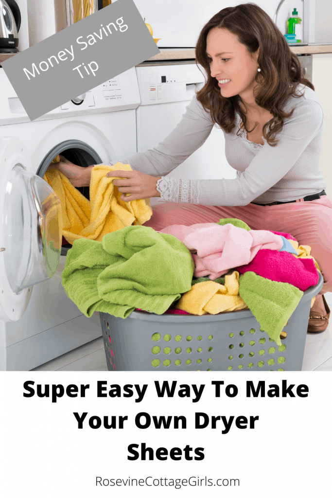 making fabric softener sheets, making dryer sheets, save money, woman taking clothes out of the dryer | rosevinecottagegirls.com