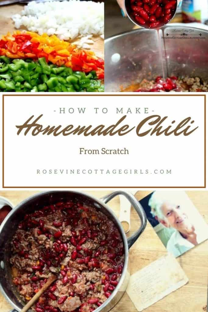 chili in a pot, chopped vegetables | The #1 Chili homemade chili recipe from scratch #rosevinecottagegirls