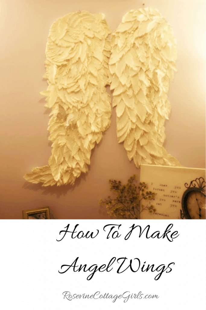 How to make angel wings, angel wings, paper wings, paper angel wings, angel wings home decor, angel wings wall hanging, by Rosevine Cottage Girls