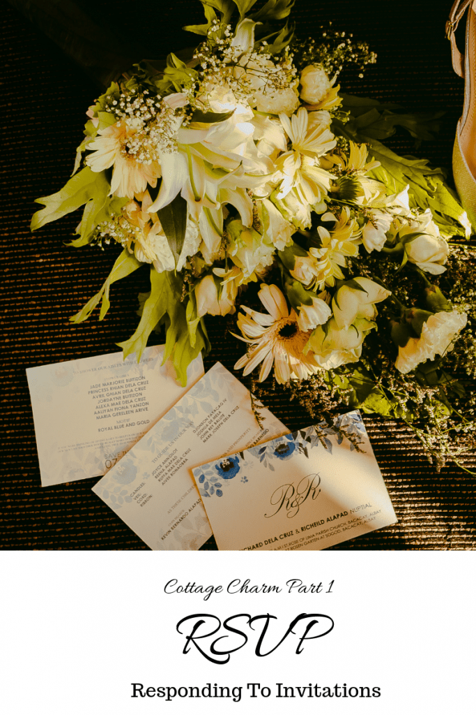 RSVP, What is RSVP, What Does RSVP Mean, How To RSVP, When To RSVP, Responding To Invitations, by Rosevine Cottage Girls | photo of flower bouquet and an invitation | RosevineCottageGirls.com