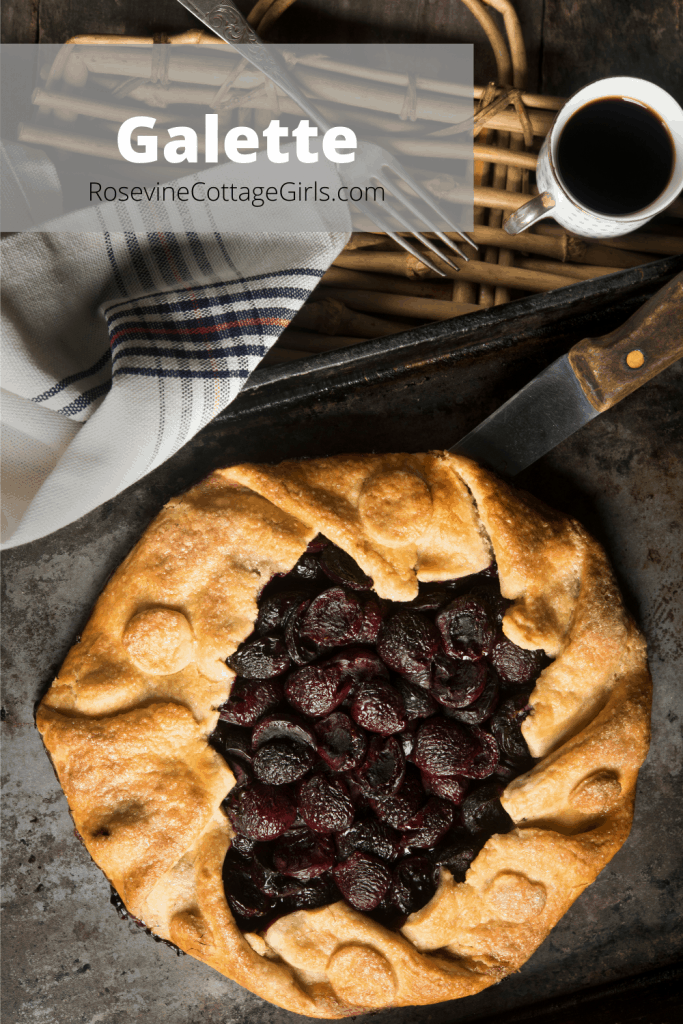 photo of a galette on table with a knife and a plaid cloth | galette |  RosevineCottageGirls.com