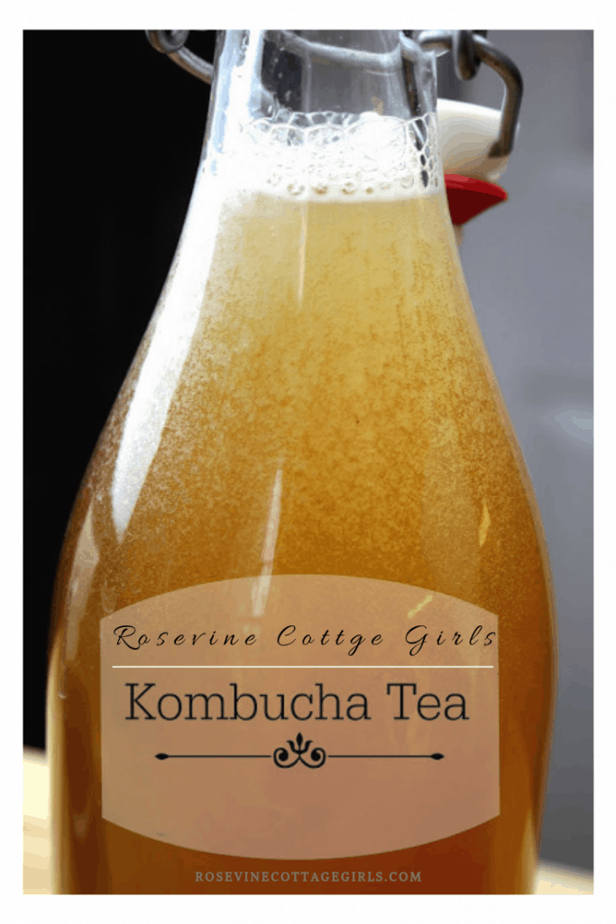 kombucha, making kombucha, kombucha tea, kombucha scoby, brewing kombucha tea photo of a flip top glass bottle of kombucha tea | rosevinecottagegirls.com