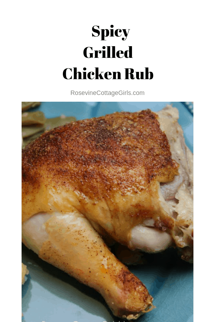 blue plate with grilled chicken and green beans on it | rosevinecottagegirls.com |Spicy grilled chicken rub, homemade grilled chicken rub, hot grilled chicken rub by Rosevine Cottage Girls