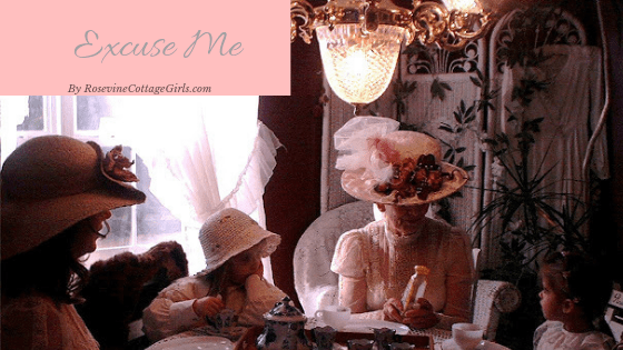Excuse Me Using Manners Photo of a family at a table having a tea party dressed in hats and fancy dresses | rosevinecottagegirls.com
