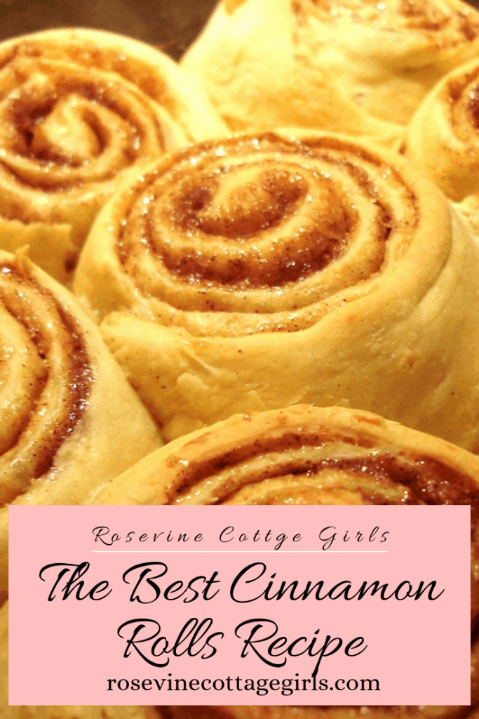 the best giant fluffy cinnamon roll recipe by Rosevine Cottage Girls