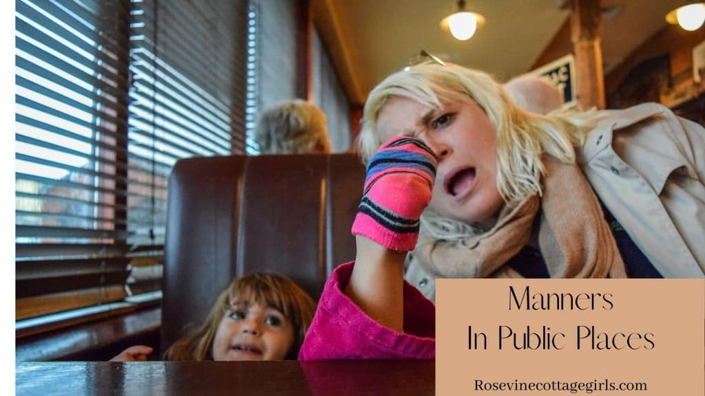 Manners in public places | photo of a child with a foot up above the table and woman looking shocked