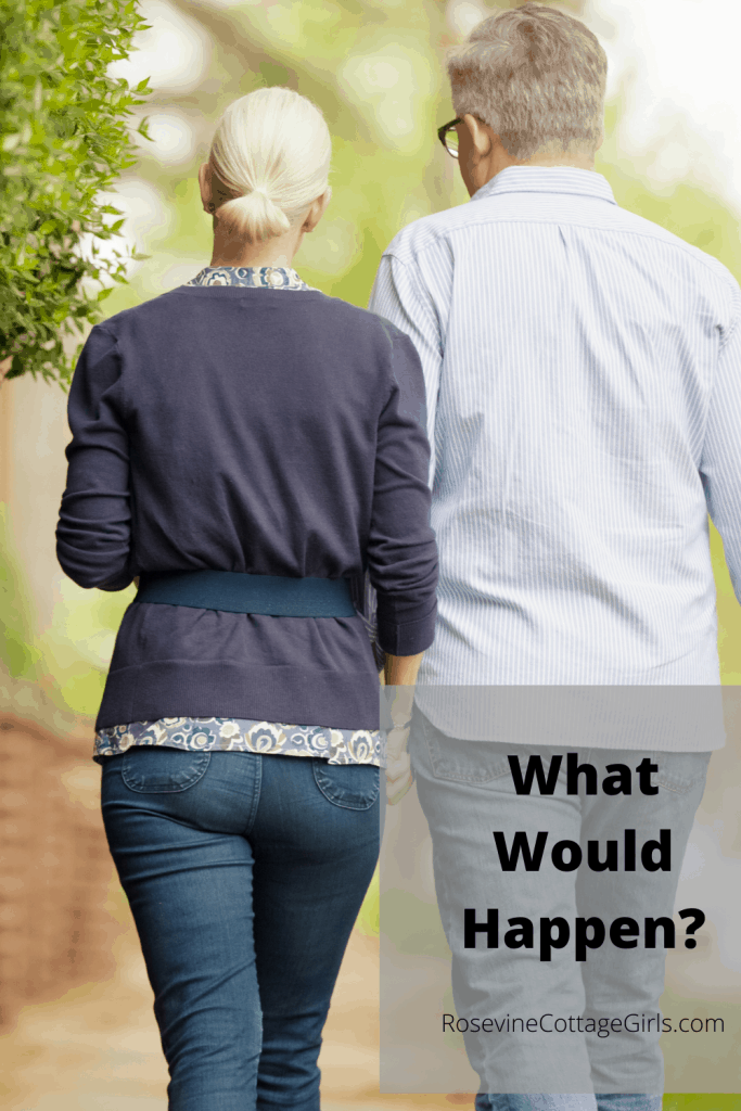 A couple walking in a neighborhood | Text What would happen? by RosevineCottageGirls