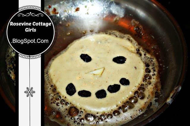 photo of a snowman pancakes in a pan | rosevinecottagegirls.com