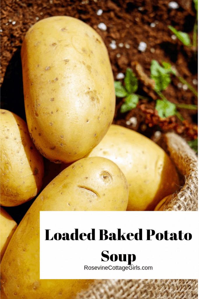 Loaded baked potato soup, baked potato soup, creamy potato soup, by rosevine cottage girls