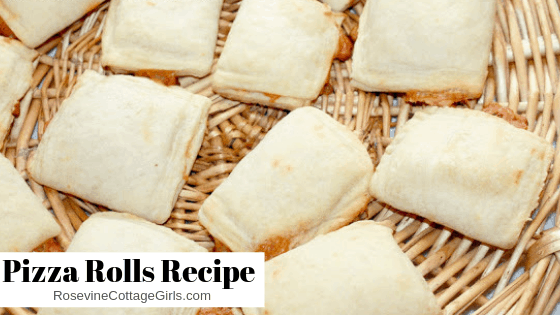 photo of a bunch of pizza rolls laying on a basket tray | Pizza Rolls Recipe, Pizza Rolls, How to make Pizza Rolls, Homemade Pizza Rolls, by Rosevine Cottage Girls