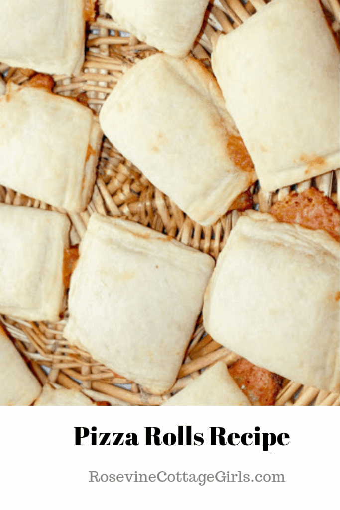 photo of pizza rolls on a basket Pizza Rolls Recipe, Homemade Pizza Rolls, How to make pizza rolls, by rosevine cottage girls
