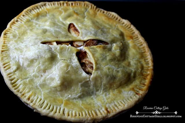 Photo of an apple pie on a black background | rosevinecottagegirls.com