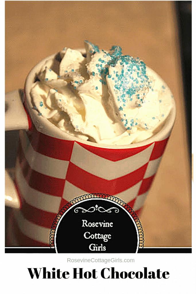 White hot chocolate, snowflake hot chocolate, Elsa's Hot Chocolate, Hot White Chocolate, by Rosevine Cottage Girls