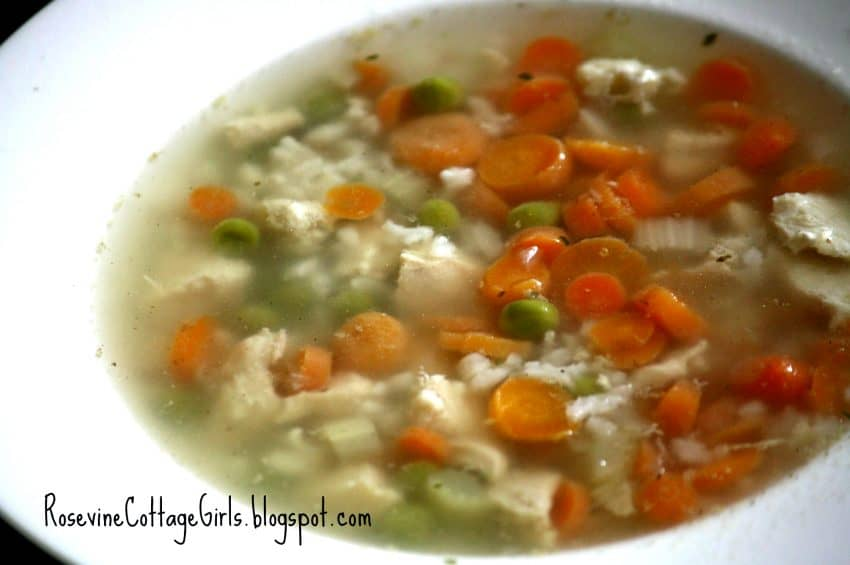 bowl of chicken and rice soup | Chicken a