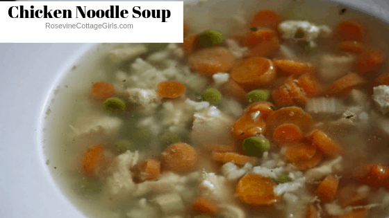 Chicken and rice soup, homemade chicken and rice soup, how to make soup Like Campbell's Chicken and rice soup, by Rosevine Cottage Girls