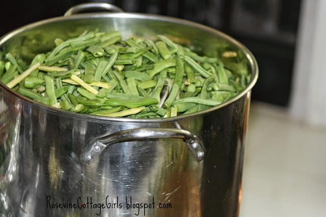 How to cook green beans   large pan with cut green beans in it   from rosevinecottagegirls.com