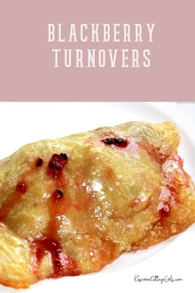 Photo of blackberry turnovers on a white plate by Rosevinecottagegirls.com
