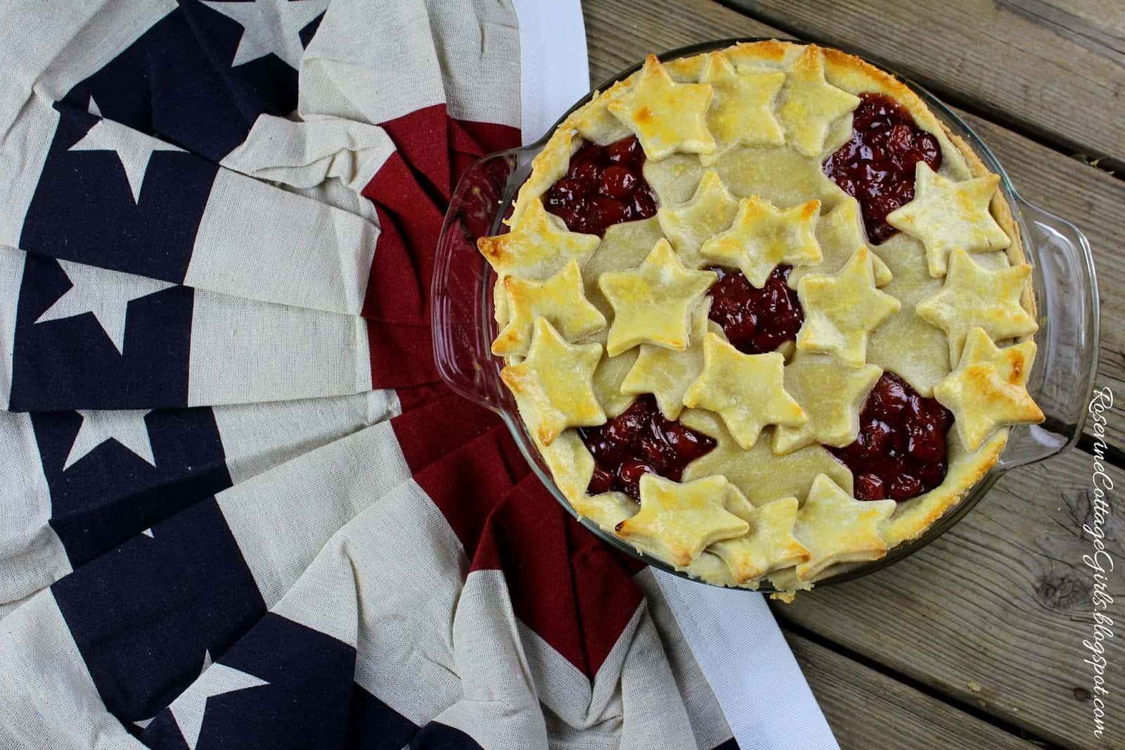 Patriotic Cherry pie, Cherry pie, Star filled cherry pie, cherry pie recipe by Rosevine Cottage Girls