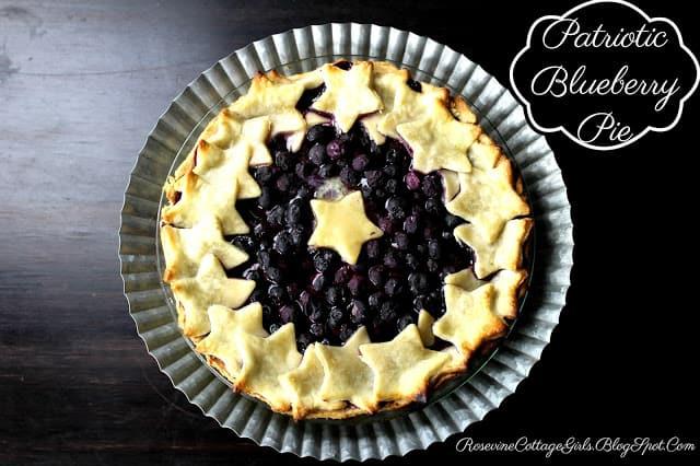 Patriotic Blueberry Pie, Blueberry Pie, Starry Blueberry pie, Rosevine Cottage Girls