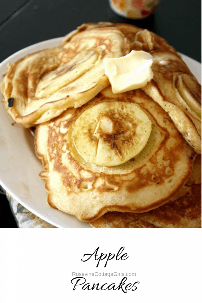 Apple pancakes, apple jack pancakes, apple cider pancakes, Apple Harvest Pancakes, by Rosevine Cottage Girls