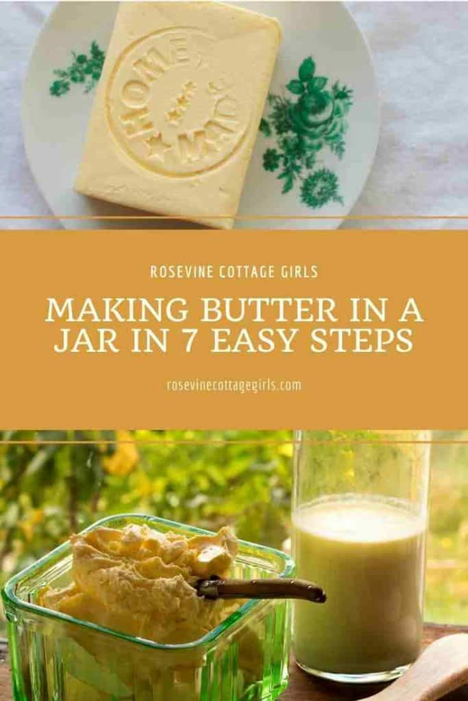 Homemade butter on a dish and in a bowl | Making butter in a jar for beginners.
