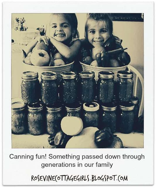 Canning memories | Children with a stack of canned goods and fresh vegetables