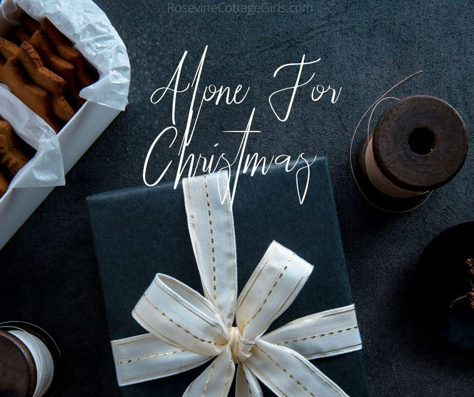 Alone for christmas | Photo of a black background and a gift wrapped in black wrapping with a white bow | rosevinecottagegirls.com