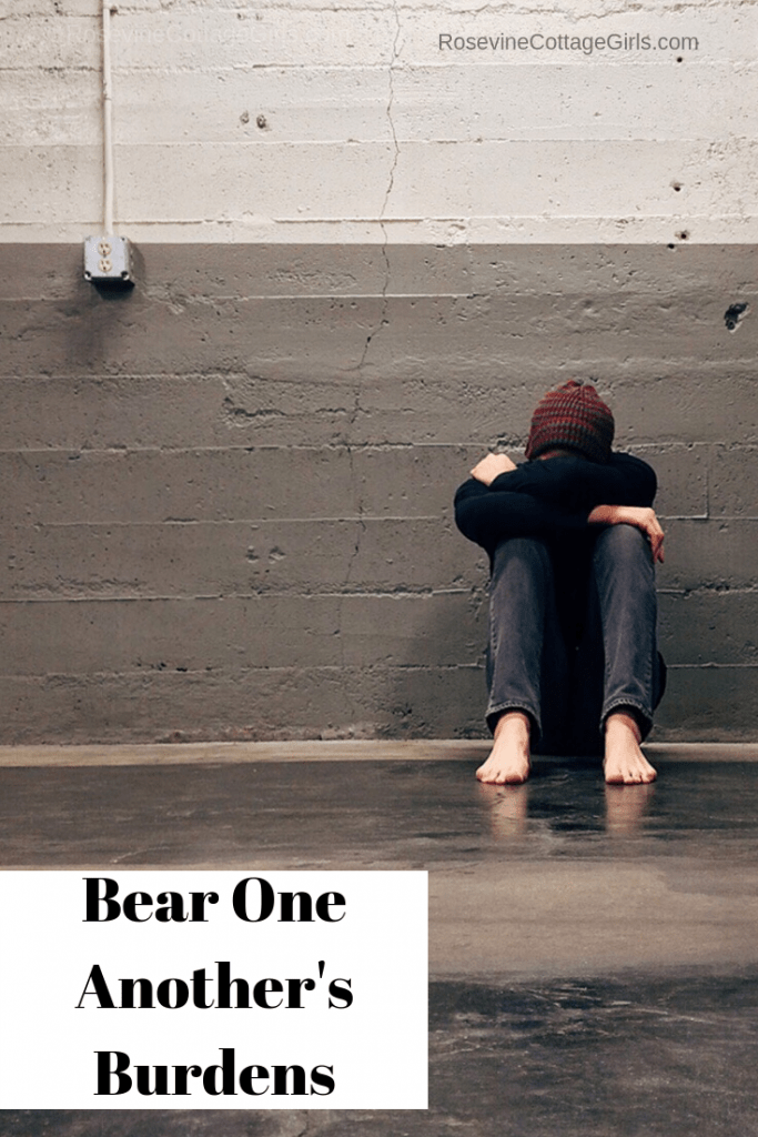 bear one another's burdens, Carry others burdens, help one another, love your neighbor as yourself, by Rosevine Cottage Girls