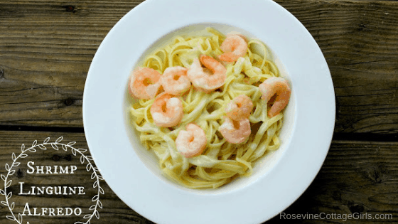 Shrimp Linguine Alfredo, Shrimp Linguine, Shrimp Linguine in white sauce, by Rosevine Cottage Girls