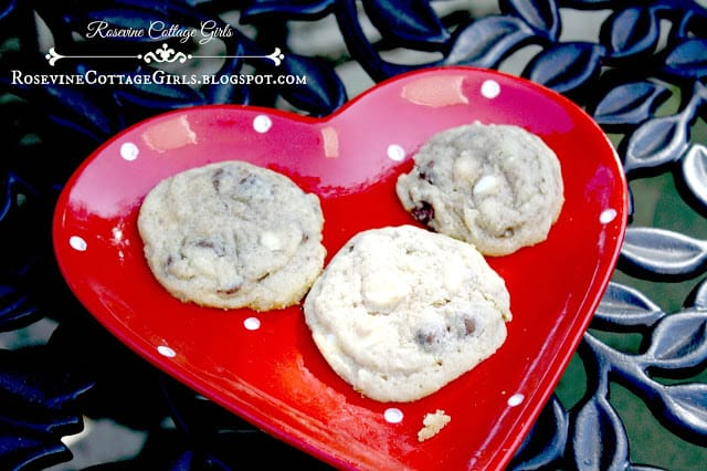 Triple Chocolate chip cookies on a heart shaped plate