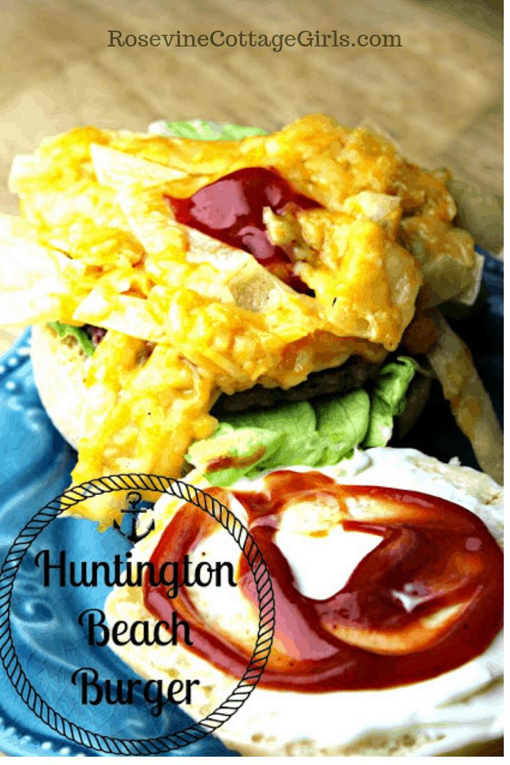Huntington Beach Burger, Dwight's Huntington Beach Burger, Cheese Strips Burger, Classic Huntington Beach Burger by Rosevine Cottage Girls