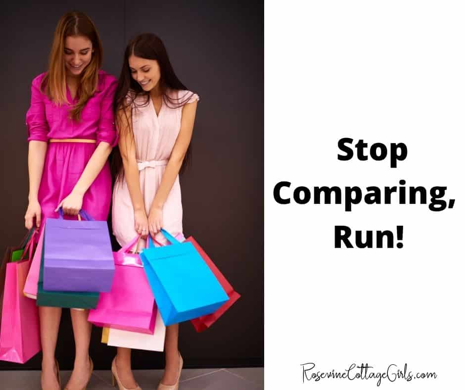 Stop Comparing, Run   photo of two women comparing their purchases \ Comparing yourself to others by Rosevinecottagegirls.com