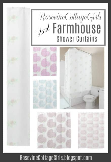 Shabby chic shower curtains by RosevineCottageGirls.com | Farmhouse Shower Curtains