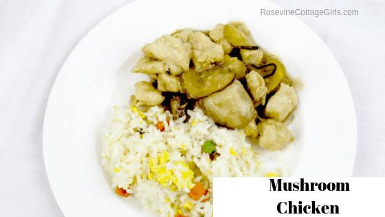 Mushroom Chicken, Asian Mushroom Chicken, Panda Express Mushroom Chicken, by Rosevine Cottage Girls
