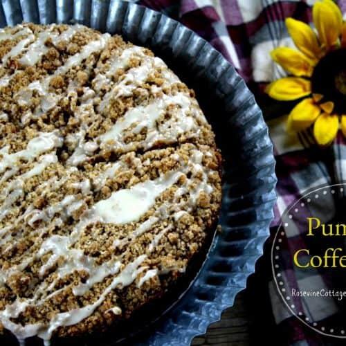 pumpkin coffee cake, fall coffee cake, iced pumpkin coffee cake by rosevine cottage girls