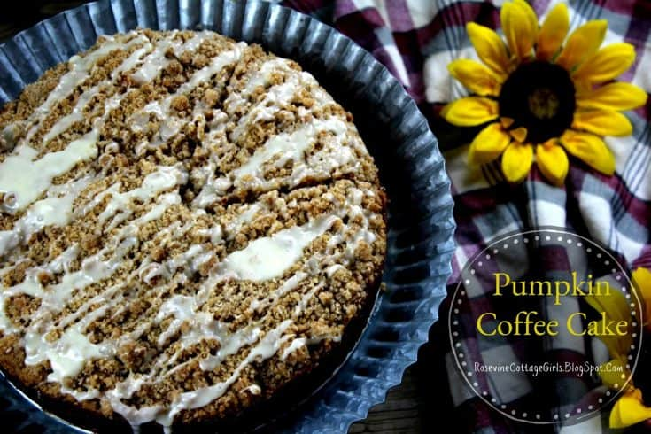photo of a pumpkin coffee cake with crumble topping and icing on a metal cake plate with sunflower and plaid fabric |pumpkin coffee cake, fall coffee cake, iced pumpkin coffee cake by rosevine cottage girls