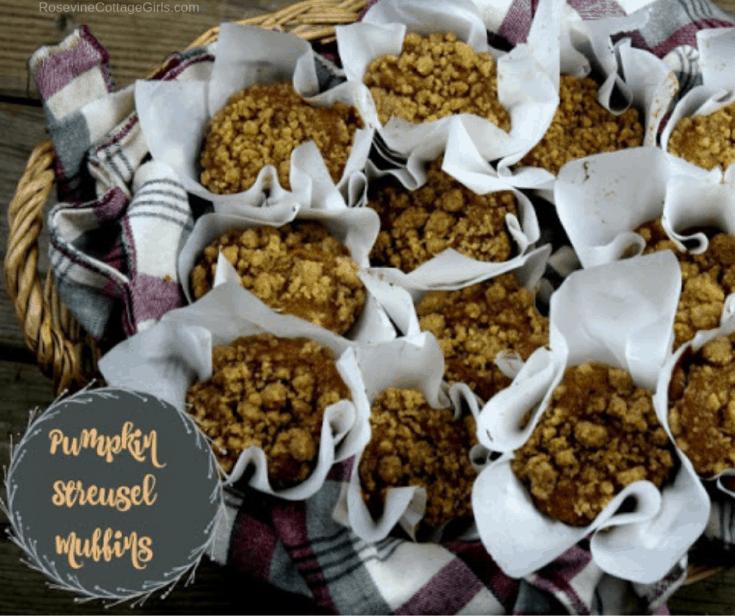basket of pumpkin streusel muffins