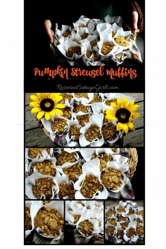 Pumpkin Streusel Muffins, Pumpkin Crumble Muffins, Pumpkin Muffins by Rosevine Cottage Girls