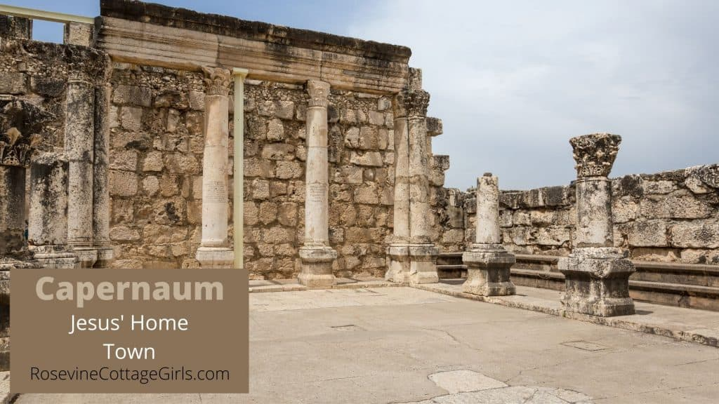 Title photo with a picture of the ruins of the capernaum synagog on it