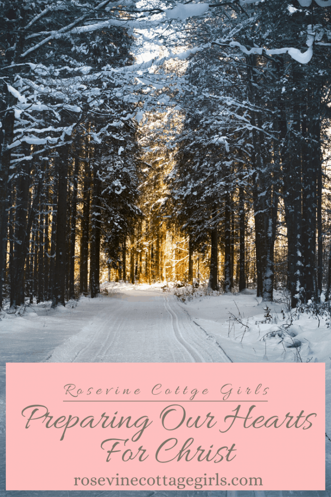 photo of a snowy country road lined with trees and the sun shining at the end of the street. Joy To The World: Preparing our hearts for Christ this holiday season #rosevinecottagegirls