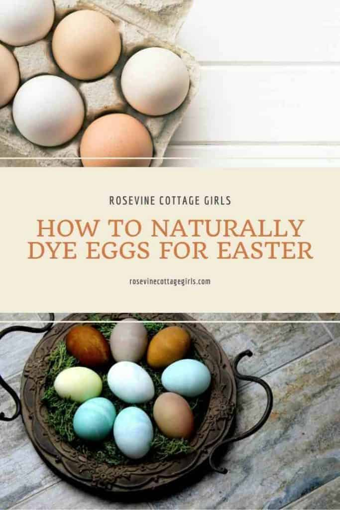 Eggs in a carton and basket | How to naturally dye eggs for Easter #rosevinecottagegirls