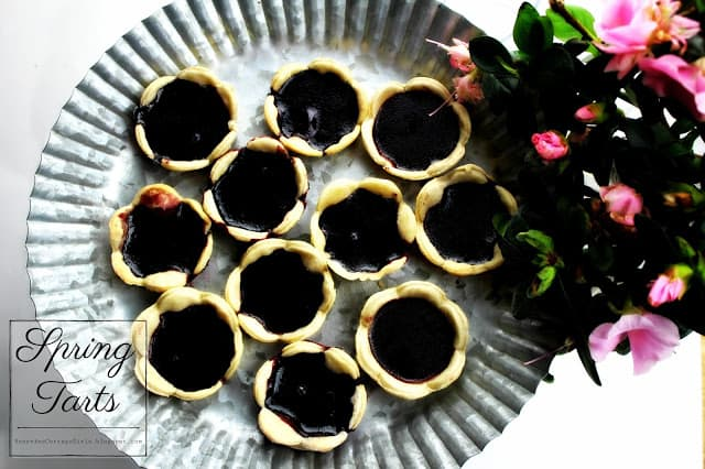 photo of tarts on a metal serving tray |Spring Tarts, Spring Tart Recipe Jam Tarts, Jelly Tarts, Rosevine Cottage Girls