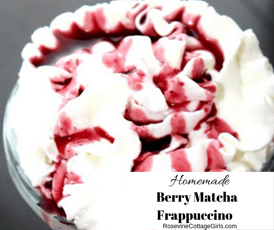 Berry Matcha Tea Frappuccino, Berry Green Tea Frappuccino, by Rosevine Cottage Girls