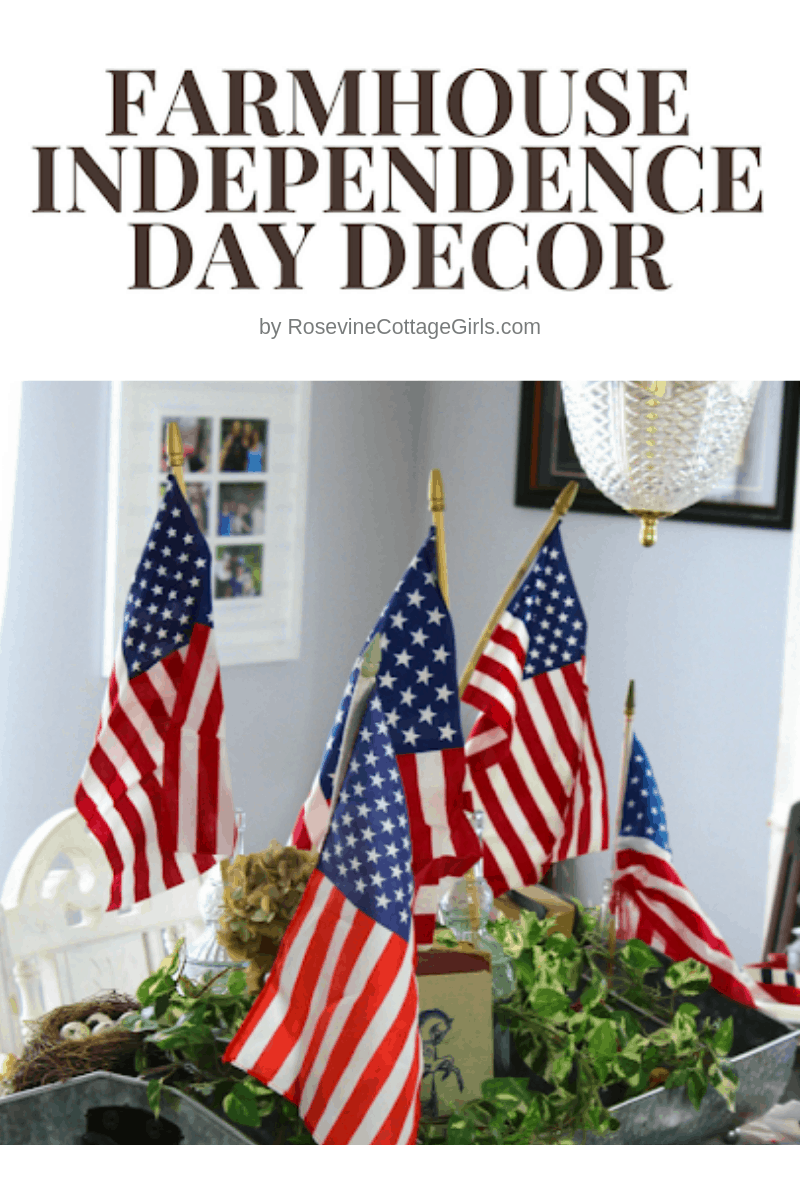 Indepedence Day Farmhouse decor, 4th of July Farmhouse Decor, 4th of July decorations, by Rosevine Cottage Girls