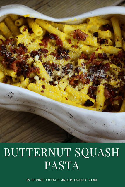 Butternut Squash Pasta, Pasta with Creamy Butternut Squash Sauce, By Rosevine Cottage Girls