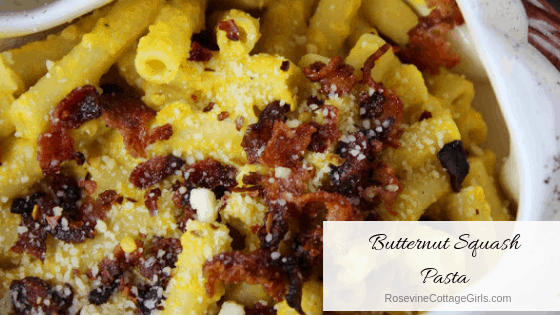 Butternut Squash Pasta, Pasta with butternut squash sauce, Creamy Butternut Pasta, by rosevine Cottage Girls
