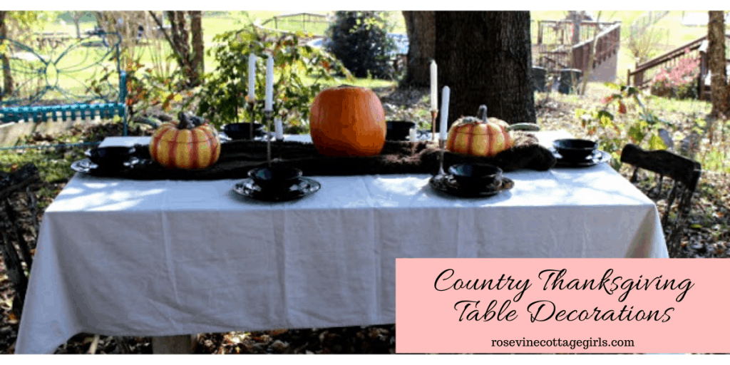 Photo of table set outdoors with thanksgiving decor. Canvas tablecloth, brown fur table runner down the center with silver candlesticks, orange pumpkins and black dinnerware.