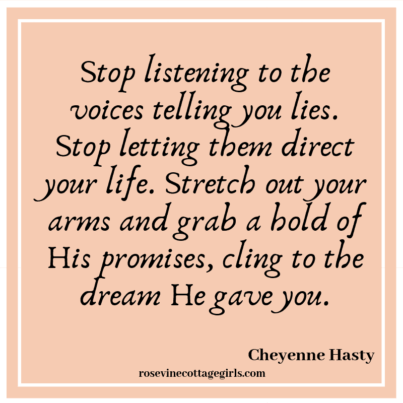 Stop listening to the voices on the shore telling you lies. Stop looking back, that isn't the way you are going. Stop letting them direct your life. Stretch out your arms and grab a hold of His promises, cling to the dream He gave you.